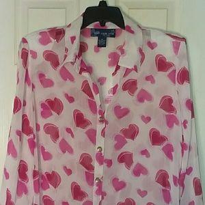 Susan Graver Embellished Hearts Burnout Top